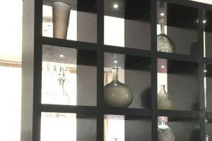 open bookshelves with integral lights